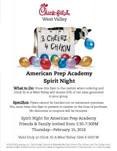 Spirit Night American Prep Academy 2.15.2018